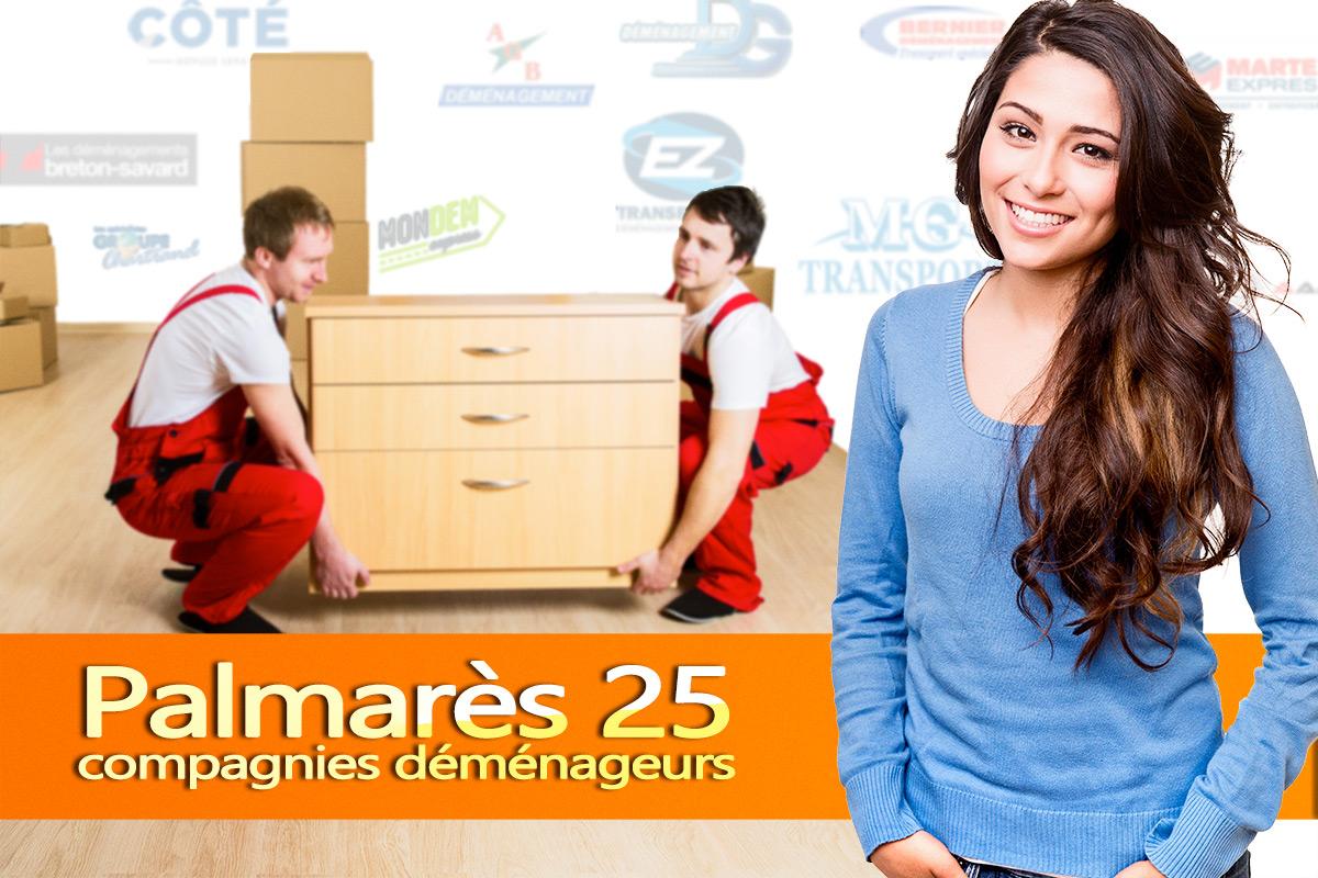 Palmarès des 25 meilleures compagnies de déménagement de la province de Québec.