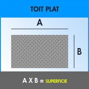 Pour calculer l'aire d'un toit plat chez Soumissions Maison, l'on utilise cette formule.